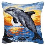 Handgestickte-Kreuzstich-Kissenhuellen-Delfin Sonnenuntergang