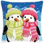 Kreuzstich-Kissenhuellen-Pinguine im Winter