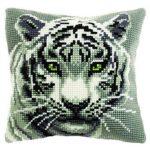 Handgestickte-Kreuzstich-Kissenhuellen-Weisser Tiger